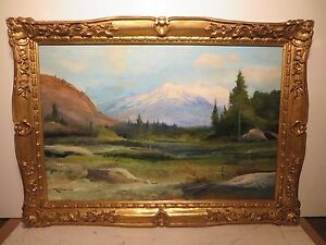 24x36 original 1940 oil painting on canvas by Robert W. Wood
