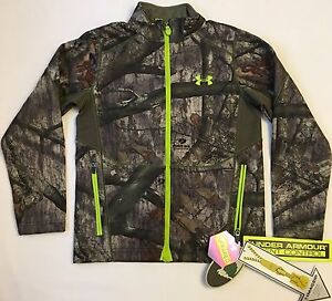 NWT youth Boys' large UNDER ARMOUR zip-up coat MOSSY OAK coldgear INFRARED CAMO