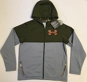 NWT youth Boys large UNDER ARMOUR hooded sweatshirt zip-up coat real tree logo