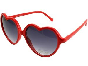 Vintage Retro Fashion Womens Heart Shaped Sunglasses Plastic Frame Red