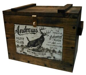 Wooden Ammo Box - Ammunition Storage Crate - Whitetail Deer Hunting Ad