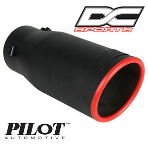 DC Sports Bolt On Stealth Series Black Series Exhaust Muffler Red Tip 3 75