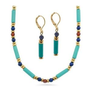 Egyptian Turquoise Tube Necklace Earring Set Carnelian and Lapis Lazuli   18