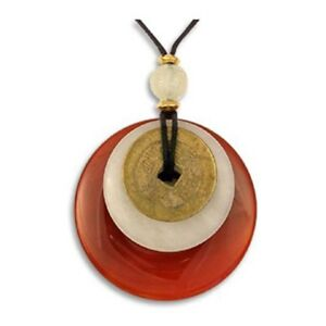 Round 50mm Carnelian Jade Bi Disc Ancient I-Ching Coin Pricegems Museum Store