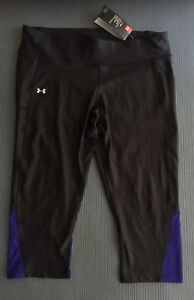 New under armour women capri xxlarge black purple shorts $50 Compression