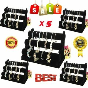 5PCS 3-layer Bracelet Jewelry DisplayShow Elegant Velvet Stand Holder BS
