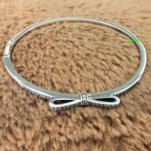 925 Sterling Silver Sparkling Bow Clear CZ Bangle Charm Bracelet