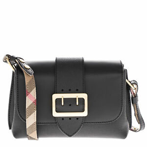 Burberry Women's Soft Grain Smooth Leather Small Crossbody Buckle Bag Black