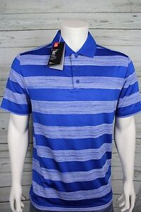 NWT Under Armour Heat Gear Golf Loose Fit UPF 30 Polo Shirt Blue Stripe NEW