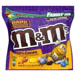 NEW FAMILY SIZE DARK CHOCOLATE PEANUT M&M'S CANDIES 49% CACAO 19.2 OZ BAG BUY IT