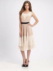 🔥BCBG MAXAZRIA NATURAL PLEATED LAYERED FANCY FORMAL RUFFLE COCKTAIL SUN DRESS 0