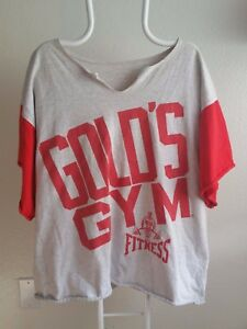 Vtg USA Golds Gym Distressed Stretch Torn Raglan Look XL Workout Muscle Shirt