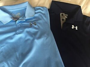 Boys Youth LARGE UNDER ARMOUR  HEAT GEAR POLO SHIRTS: Two For Price Of One!