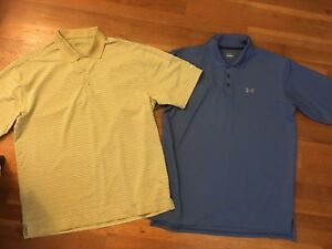 Nike Under Armour Mens Fit Dry Golf Sport Polo Shirts L Large