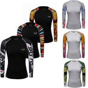Women's Athletic Compression T Shirts Running Yoga Jogging Dri fit Tops Tights