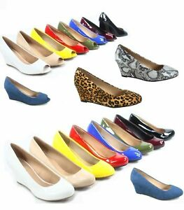 Women's Patent Round Open  Toe Low Wedge Platform Low Heel Shoes Size 5-10 NEW