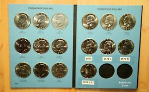 1971 1978 $1 Eisenhower Dollar 16 coin P&D Uncirculated Set wFolder