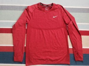 Men's Nike Dri-Fit Knit LS Shirt Sz M Team RedSilver 717760-677 FREE SHIPPING