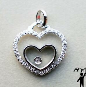14K White Gold Floating Happy Diamond Double Heart Pendant Necklace Hot Design