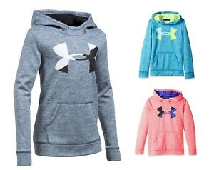 Under Armour Girls Kids Ua Armour Fleece Big Logo Front Pocket Kangroo Hoodie