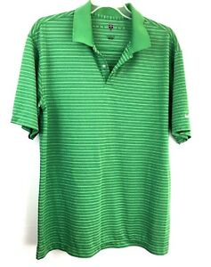 Nike Fit Dry Mens Shirt Polo Size Large Short Sleeve Green White Stripes Golf