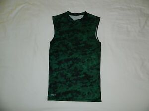 Men's Nike Fit Dry Camo Sleeveless Compression Shirt Tank Top Size Small Green