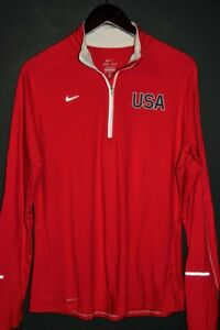 NIKE ELEMENT ( TEAM USA ) Men's Reflective DRI-FIT Half-Zip Pullover Shirt sz XL