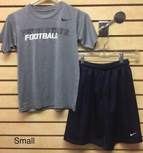 Nike Dry Fit Boys Youth Size Small Penn State Football T-Shirt Shorts Outfit