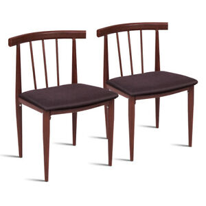 Set Of 2 Dining Chairs Fabric Upholstered Armless Steel Home Dining kitchen