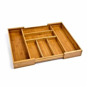 Bamboo Expandable 7 Compartment 2 Adjustable Flatware Utensil Cutlery Drawer