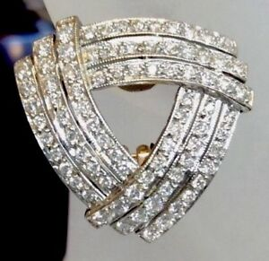 3.20ct Diamond Triangular Clip Cocktail Earrings Solid 18K Gold Apprsl $10250