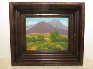 8x10 original 1950 oil painting on wood by Rolla S. Taylor of