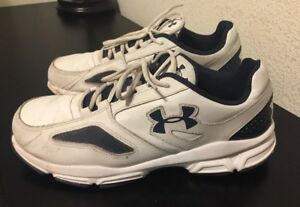 Mens UNDER ARMOUR--White Leather--Running Walking Shoes SIZE 12E