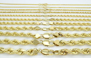 REAL 10K Yellow Gold 2MM-7MM Italian Rope Chain Link Bracelet Men Women 7