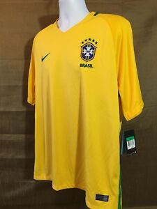 Nike DRI- FIT STAY COOL Brazil Team Core Ringer T-Shirt Yellow Mens NWT Size XL