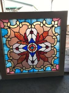 Sg 1629 Kaleidoscope Of Color Antique Stainglass Landing Window 28.25 X 27.75