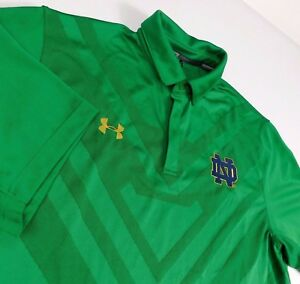 Notre Dame Under Armour Loose Heat Gear Green Polo Golf Shirt Sz XL Protect