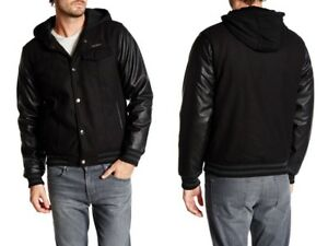 Men's ENGLISH LAUNDRY Black Wool Faux Leather Elegant Bomber Hoodie Jacket  $189