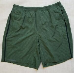 LULULEMON Mens XL  Green Pace Breaker Shorts w Liner Running  Stripes NICE!