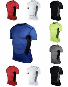 Mens Sports Compression Wear Under Pro Base Layer Short Sleeve T Shirts GBP 4.99