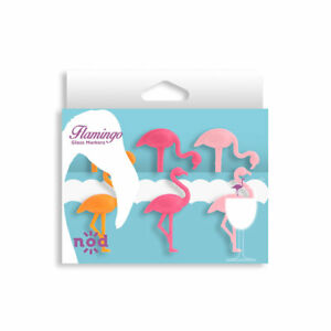 Nod Flamingo Silicone Wine Glass Charms / Drink Markers - Set of 6