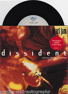 PEARL JAM EDDIE VEDDER HAND SIGNED AUTOGRAPHED DISSIDENT 45! RARE! WPROOF+COA!