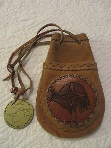 VINTAGE LEATHER POSSIBLES BAG SANTA FE TRAIL RENDEZVOUS MADALLION MOUNTAIN MAN