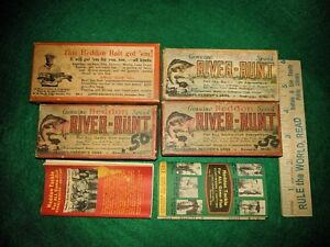 Vintage Empty Fishing Lure Boxes Heddon Brush River Runt Green Red Pamphlets