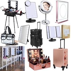Cosmetic Makeup Case Bag 8 16 20 LED Lighted Mirror Dressing Table Rolling Stand