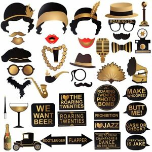 Gatsby Photo Booth Props, Roaring 20s Photo Booth Props for Gatsby Party - 42pcs