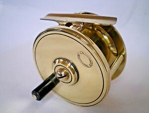 SUPERB ANTIQUE BRASS FLY FISHING REEL BY S.ALLCOCK OF REDDITCH WITH ORIGINAL BOX
