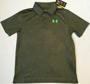 NWT youth Boys' YLG large UNDER ARMOUR knit POLO heatgear GOLF shirt GREEN
