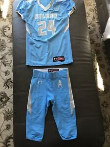 Under Armour Football 8 PAIRS Youth L XL Pants & 2 Jerseys Blue OILERS Logo LOT