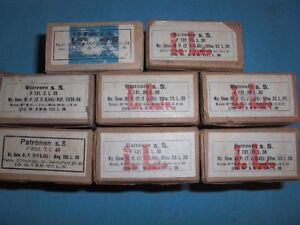 8 Empty Cardboard Boxes for German WWII 8mm Mauser Ammo for Rifle and MG